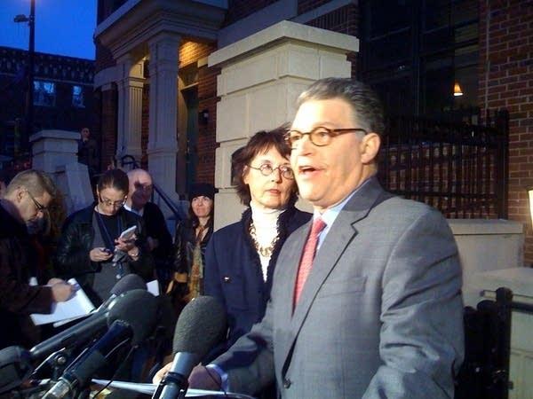 Democrat Al Franken holds a press conference