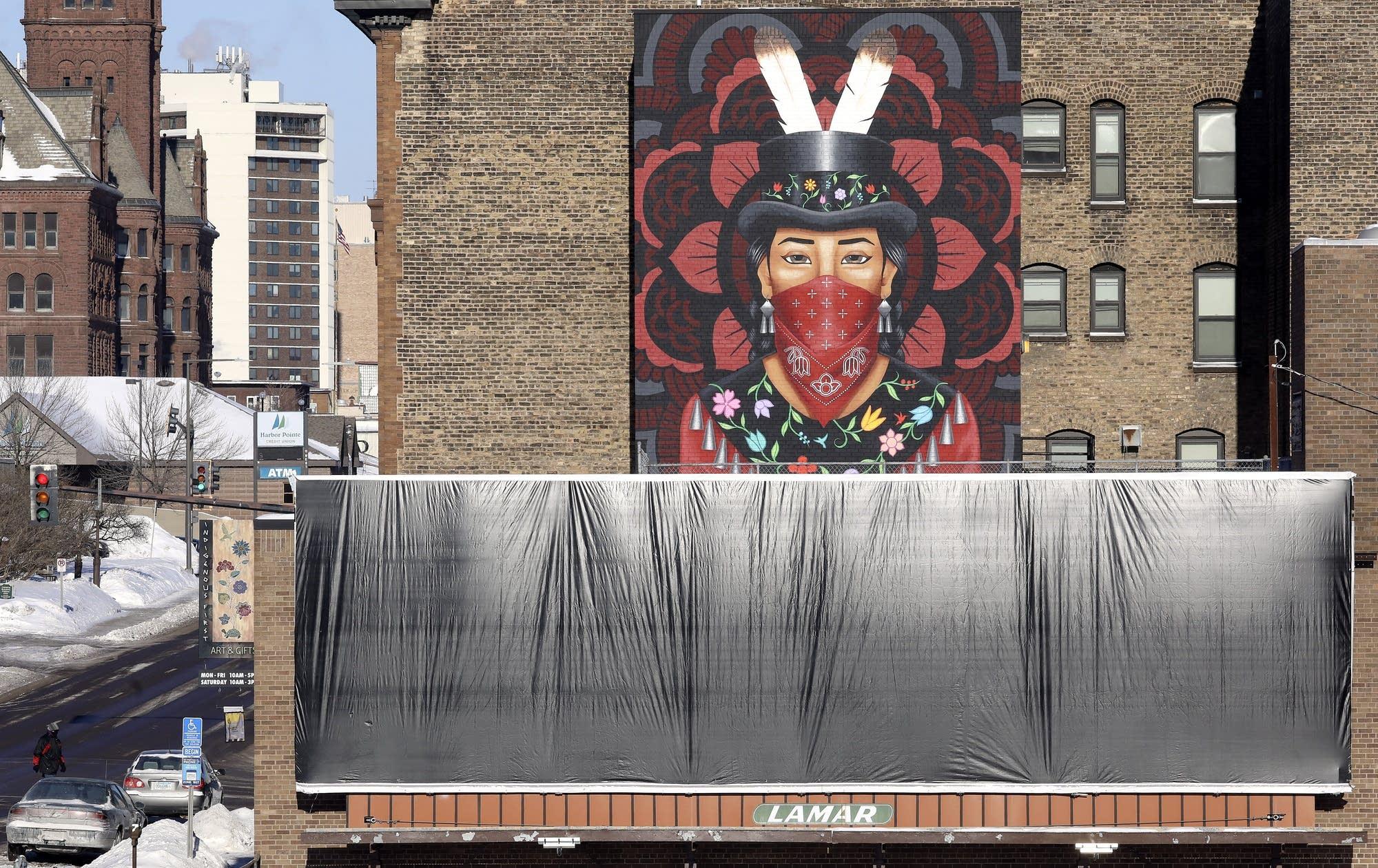 A billboard near Duluth's American Indian Community Housing Organization.