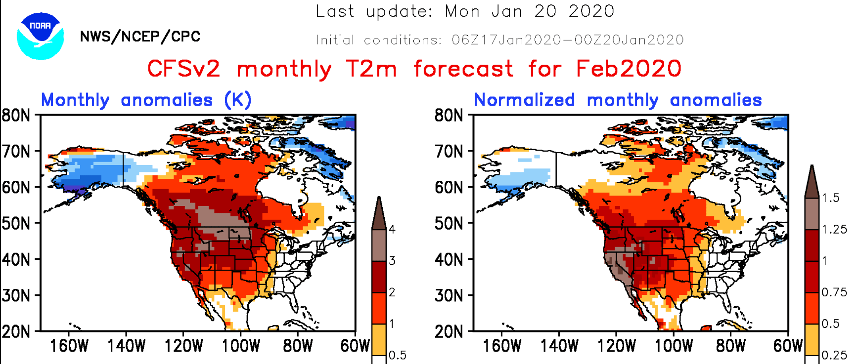 NOAA CFS2 temperature outlook for February 2020