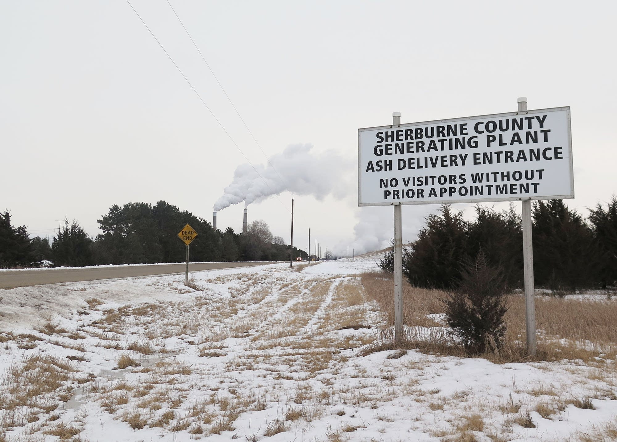 A sign marks an entrance to the Sherburne County Generating Plant.