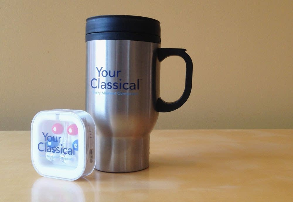 YourClassical travel mug and earbuds