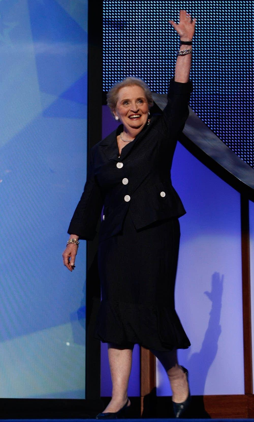 Medeleine Albright walks on stage during the DNC