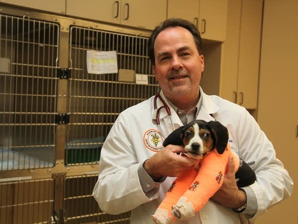 Dr. Erik Clary holds a puppy named Milo