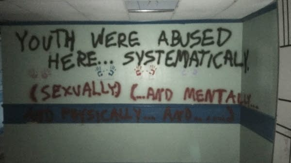 Graffiti on the wall of a Sequel facility in Wichita, Kan.