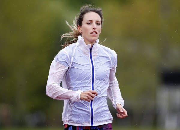 Gabriele Grunewald trains at Macalester College in St. Paul in 2017.