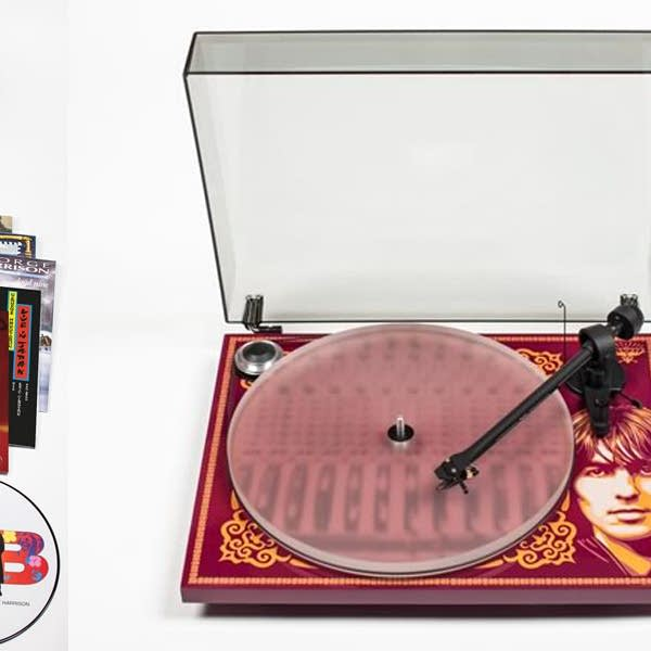 George Harrison box set and turntable