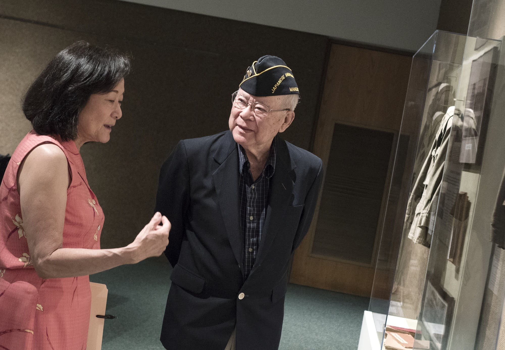 Bud Nakasone, of St. Paul, talks with Karen Tanaka Lucas of Apple Valley.