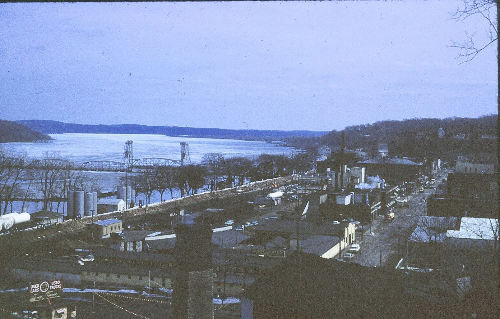 Downtown Stillwater, Minn., and the dike that protected the town.