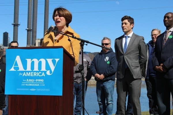Amy Klobuchar speaks in Minneapolis on April 14, 2019