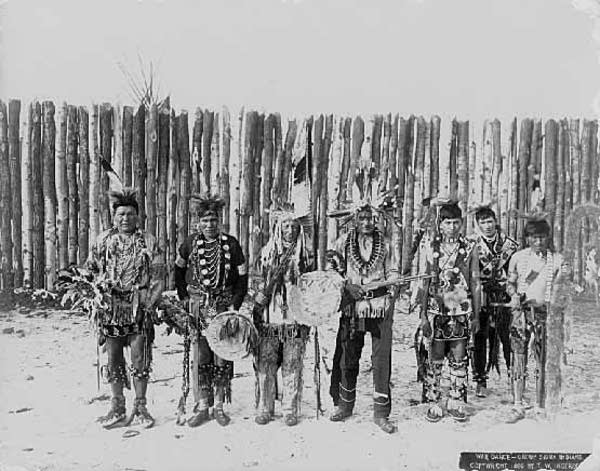 Sioux Indians pose during a war dance