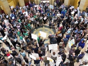 Groups rally in the Capitol rotunda