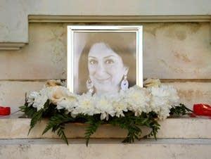A shrine for Maltese journalist Daphne Caruana Galizia.