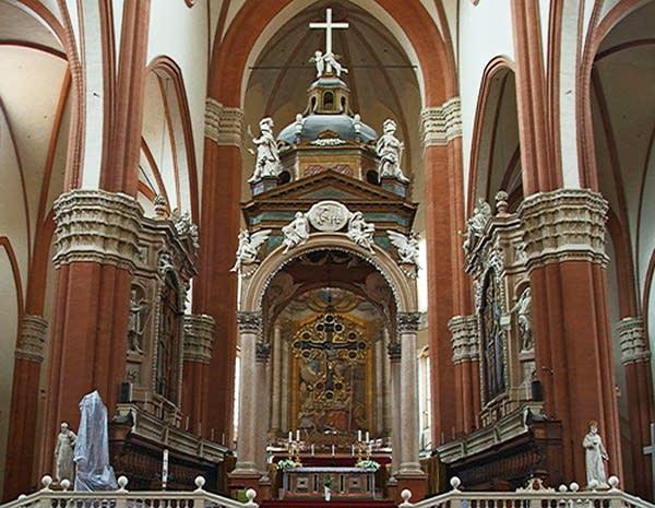da Prato and Malamini organs in the choir of the Basilica of San Petronio, Bologna, Italy
