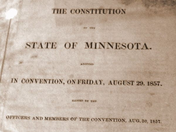 Cover of the first printing of the Minnesota Constitution, 1857.