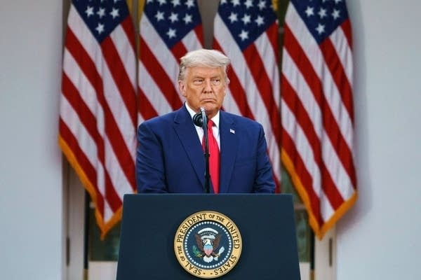 President Donald Trump speaks during a press conference in the Rose Garden