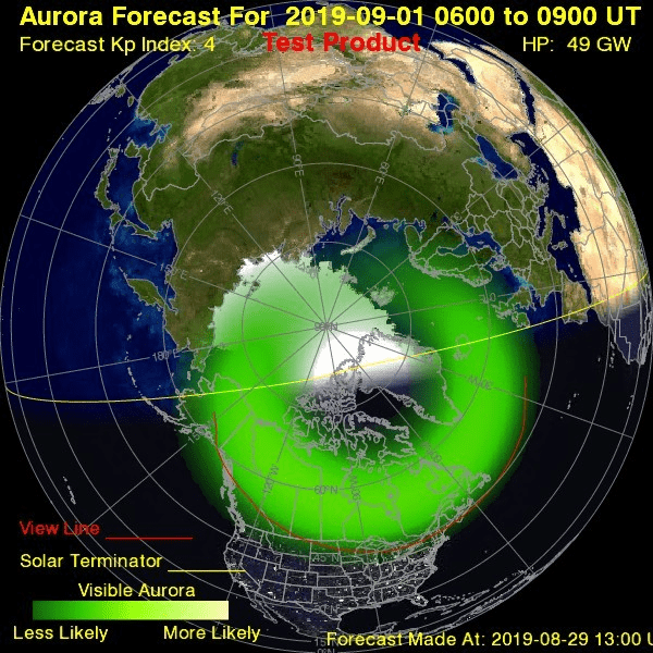 Aurora forecast model from NOAA's Space Weather Prediction Center
