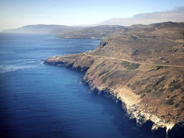 An aerial view of the coast of San Clemente Island
