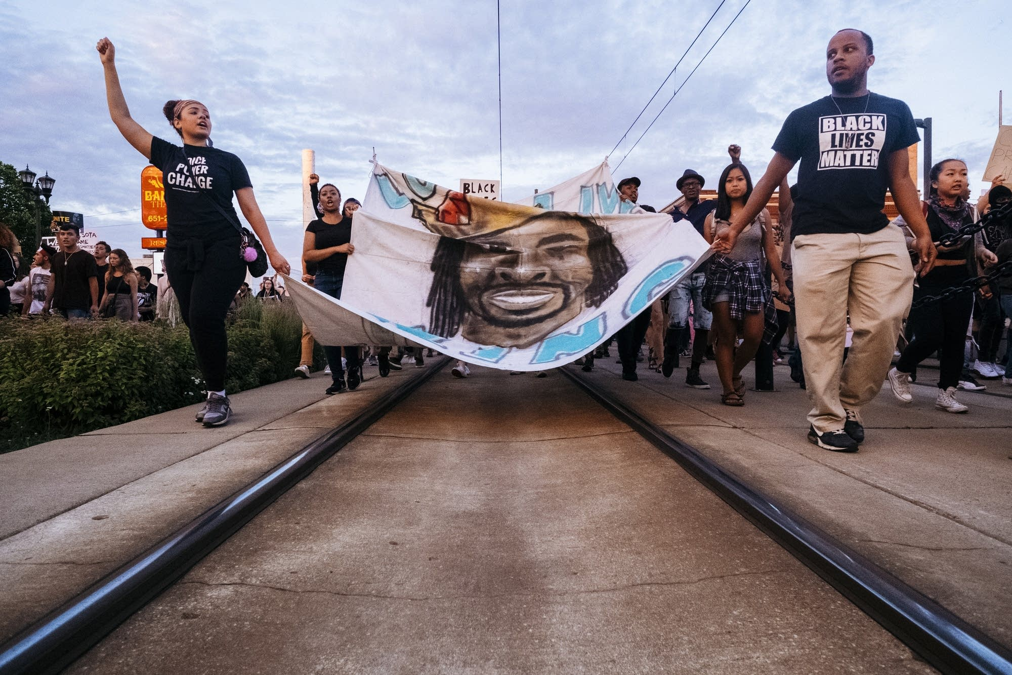 Protesters shut down the Green Line.