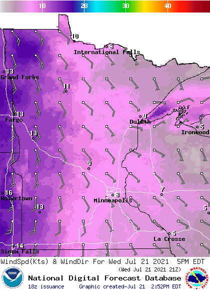 Wind forecast for 5 pm Wednesday