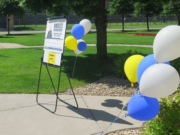 Balloons help point the way to a correctional officer hiring event.
