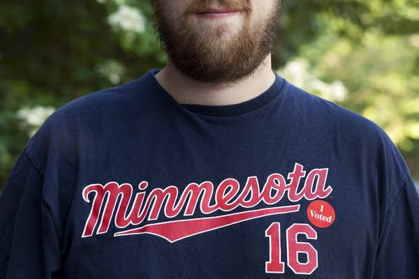 "Minneapolis resident wears ""I voted"" sticker"