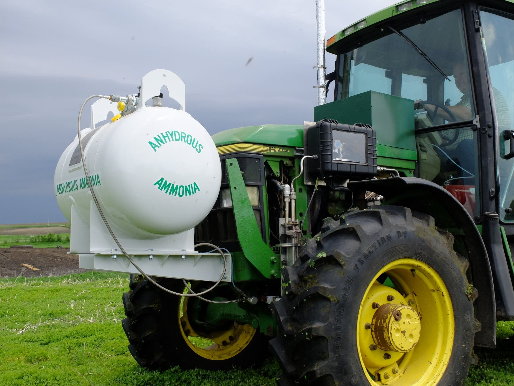 An experimental tractor designed to run on diesel fuel and ammonia.