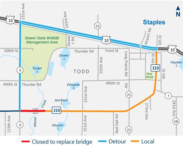 Highway 210 west of Staples