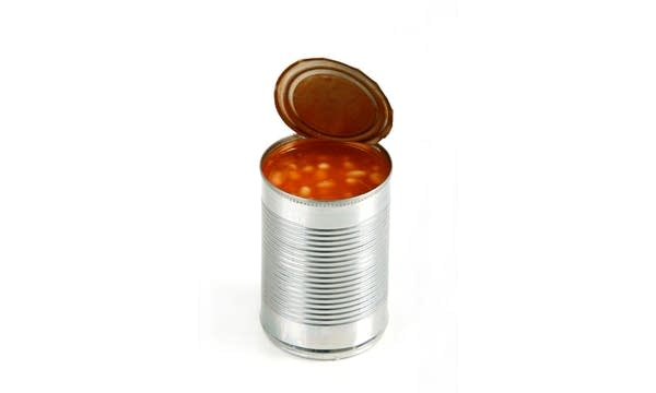 An open tin can of beans (no label) on a white background.