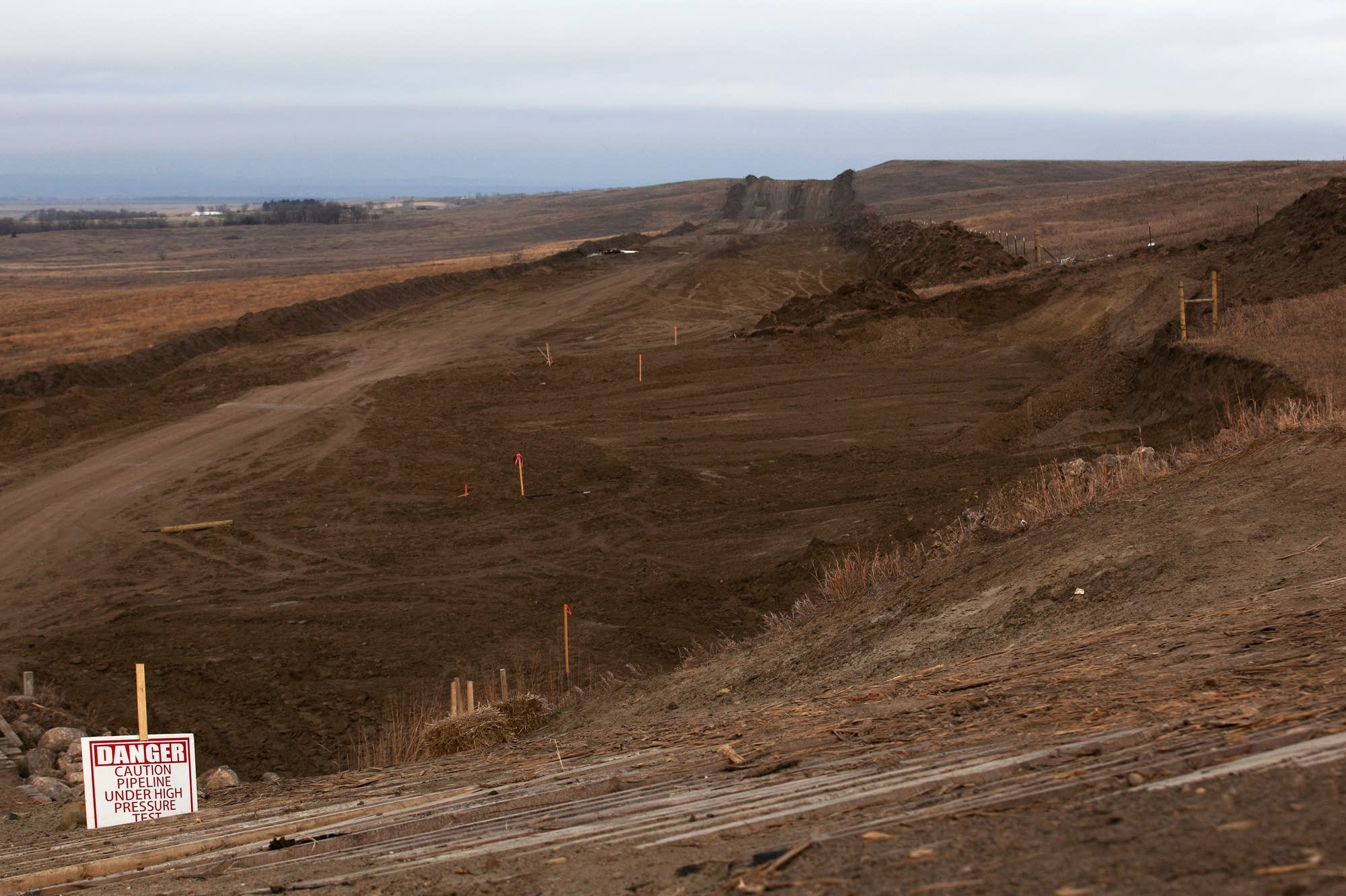 Evidence of Dakota Access oil pipeline construction