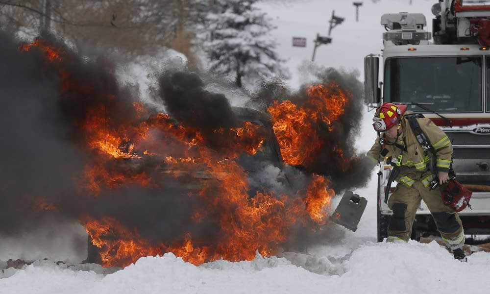 Snowbound, burning vehicle in Kansas