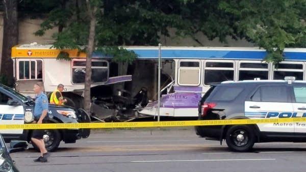 A car ran through at Metro Transit bus, killing at least one.