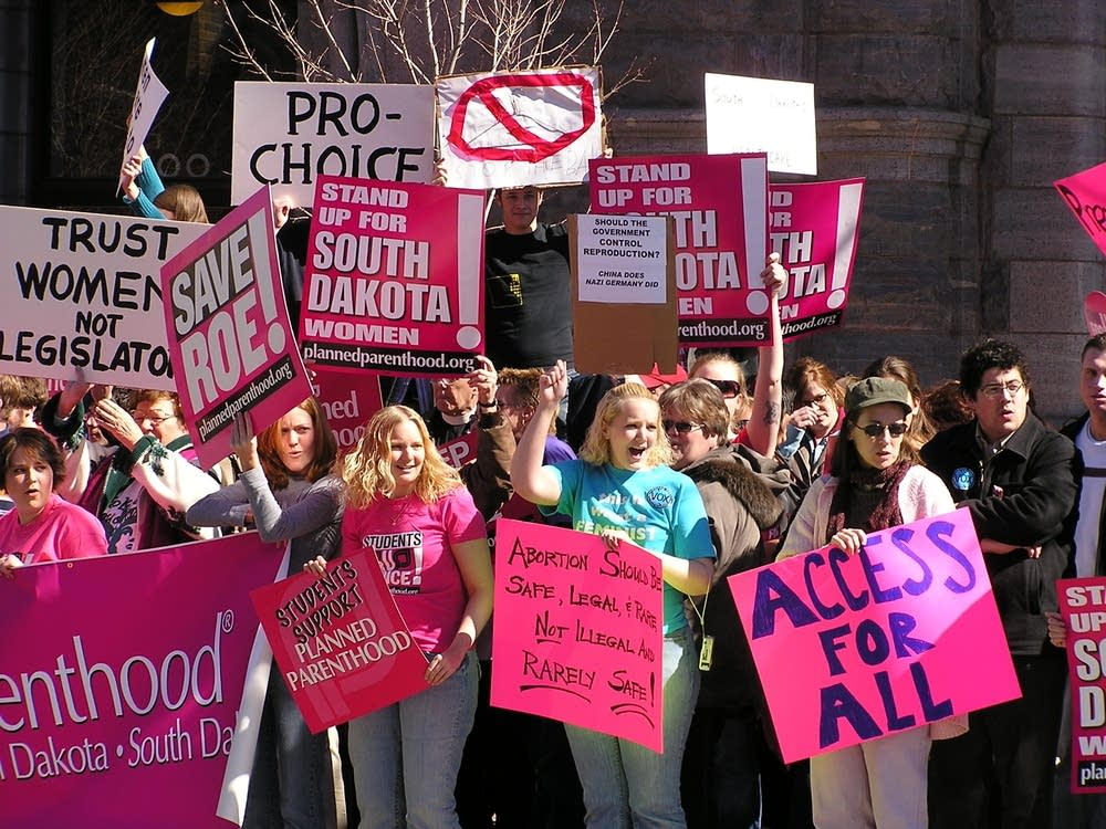 women protest South Dakota's abortion ban