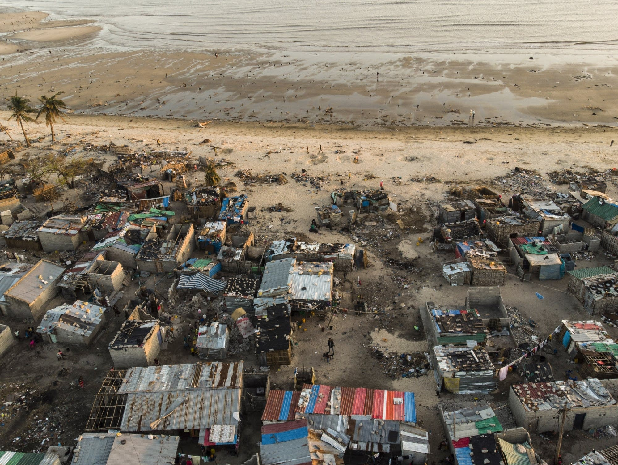 Debris and buildings destroyed by Cyclone Idai