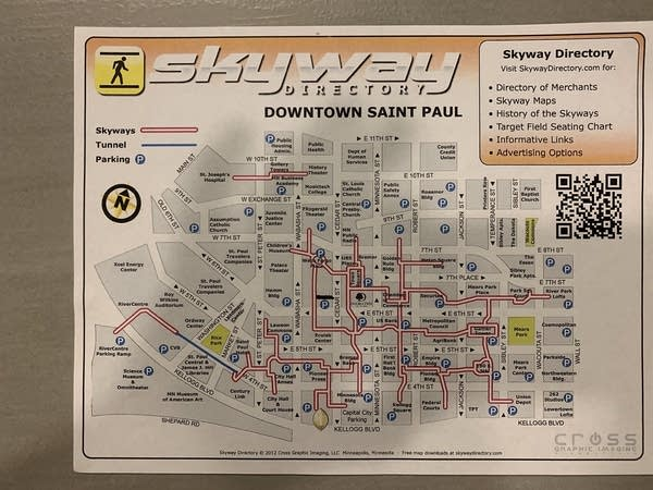 A map of the St. Paul skyways that Luke uses to get around