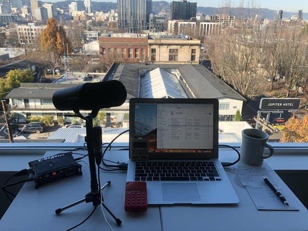 Luke's podcasting setup in his Portland hotel