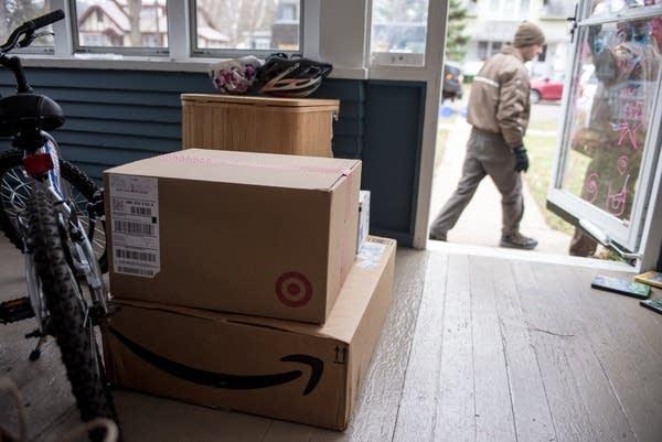 Corey Keller delivers packages in Highland Park.