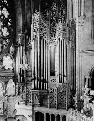 Section of the 1954-1990 Schantz organ at the Cathedral Basilica of the...