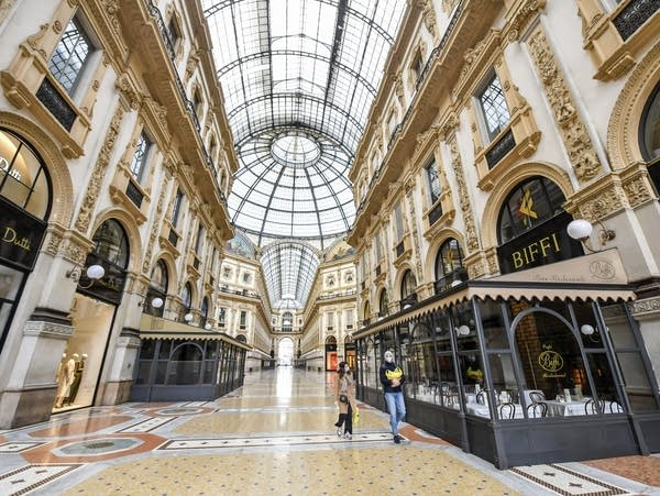 A view of the nearly-empty Vittorio Emanuele shopping arcade