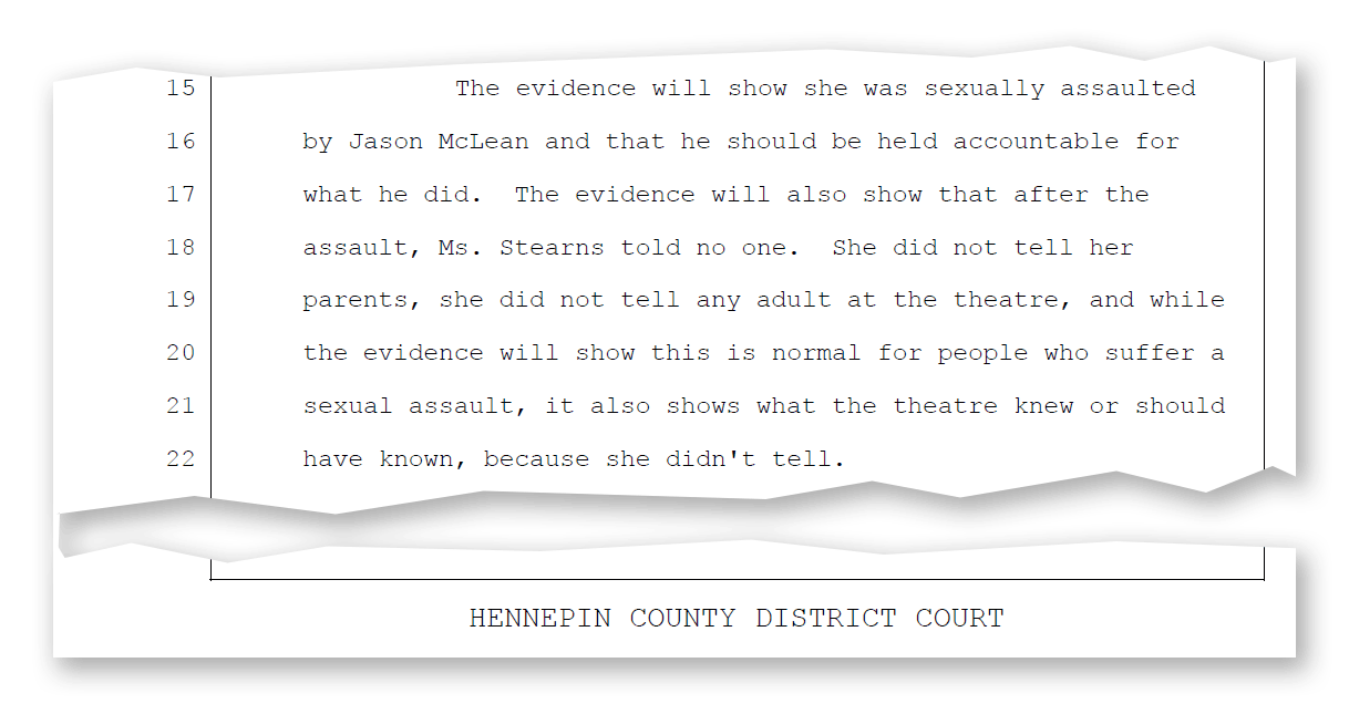 An excerpt from a court document