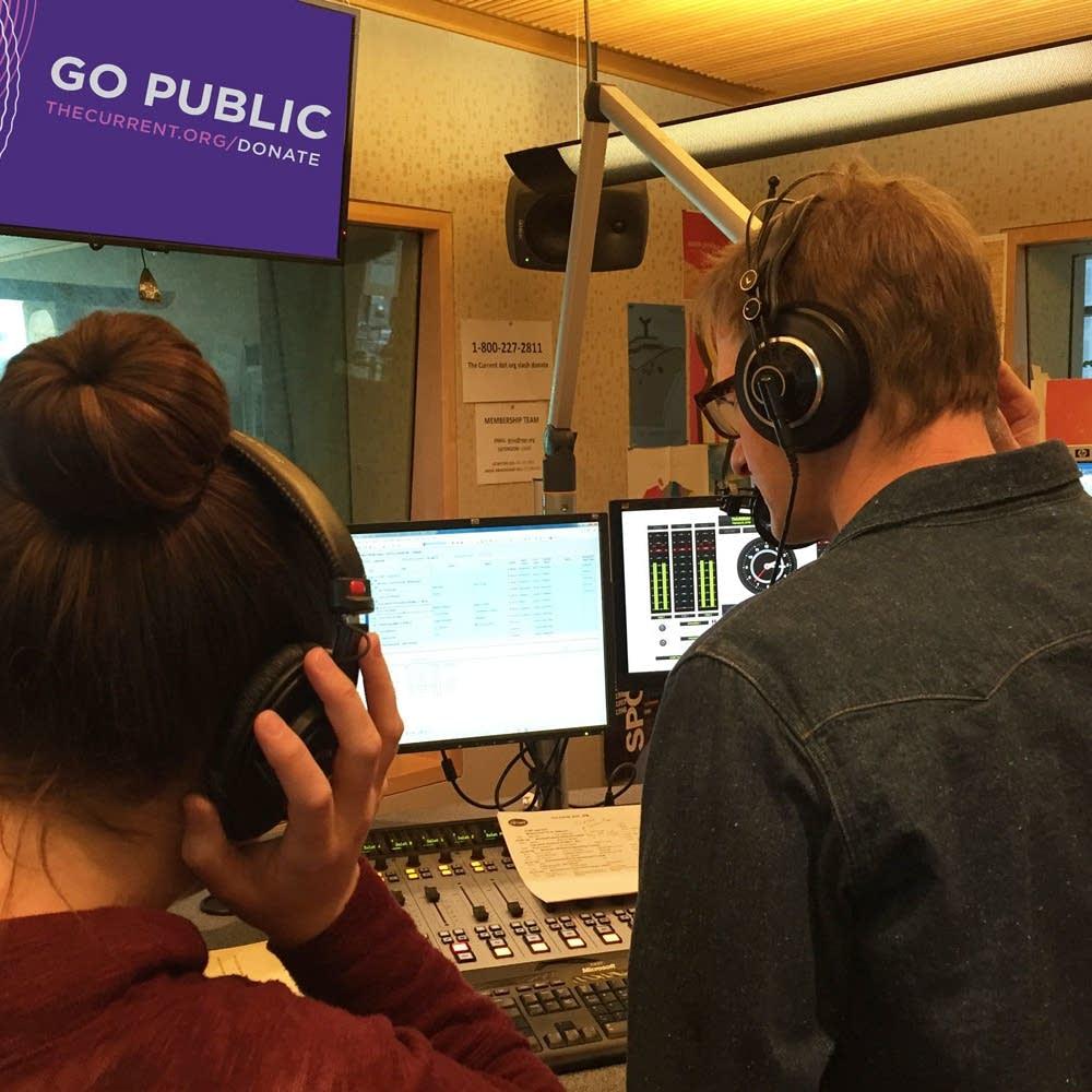 Lindsay Kimball and Jim McGuinn in the studio