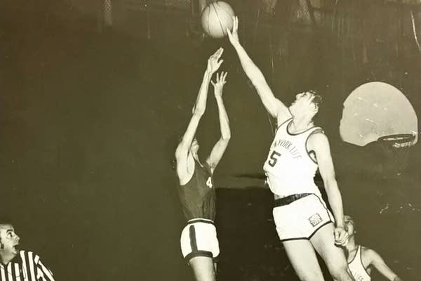 Playwright Lauren Yee's father playing basketball as a young man