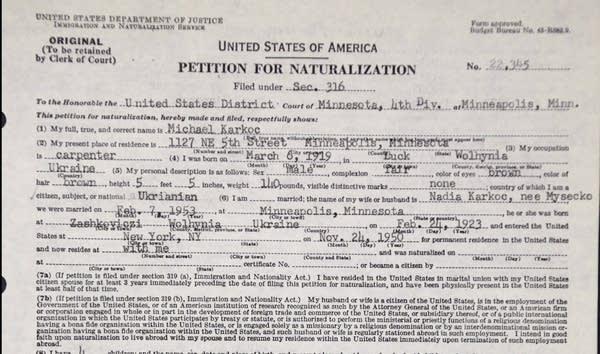 Karkoc's petition for naturalization