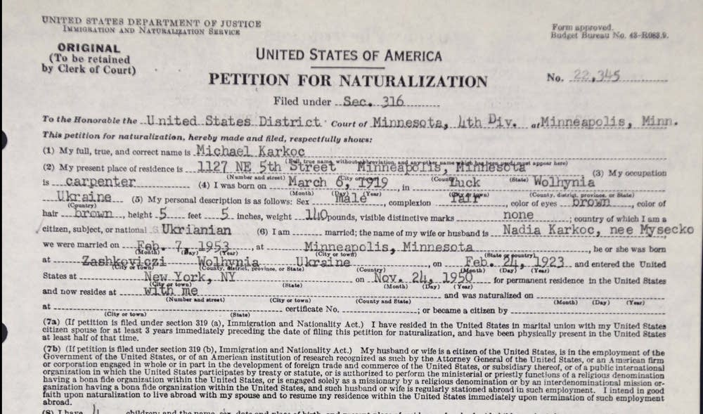 Karkoc's petition for naturalization