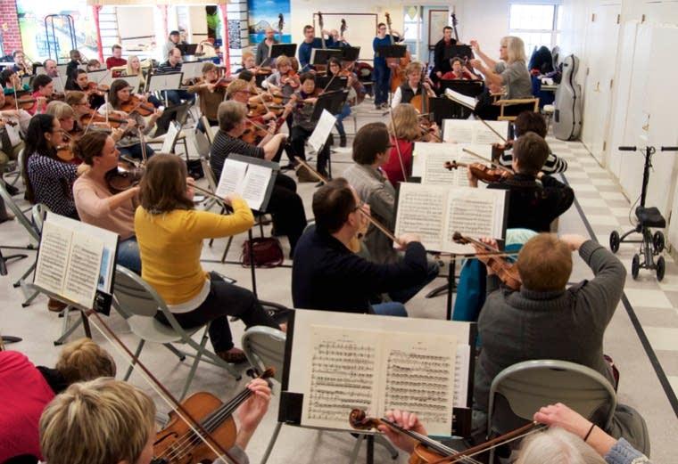 Wayzata Symphony Orchestra rehearses