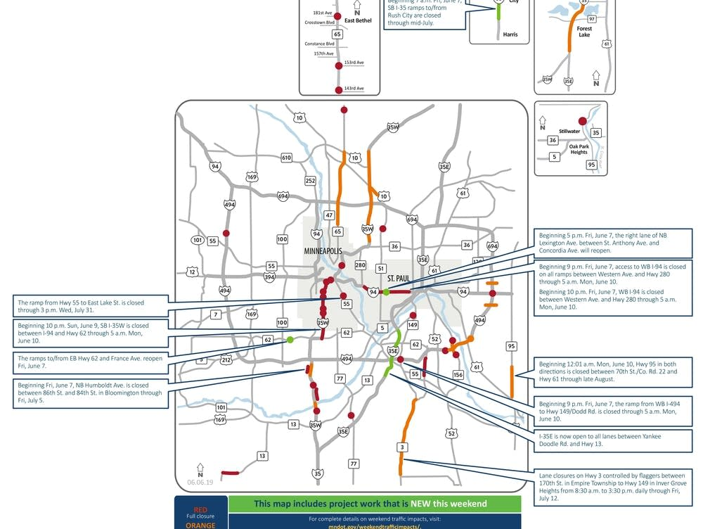 Lots of Twin Cities road woes this weekend with closures on I-35W, I Map on route 17 map, i-75 map, grand parkway houston map, i-93 map, us interstate highway system, highway 35 texas map, i-95 map, i-40 map, i-85 map, i-5 map, iowa dot road conditions map, i-64 map, i-10 map, i-20 map, i-80 map, i-70 map, loop 9 map, minnesota and canada border map, i-65 map, i-74 map, hwy 99 map,