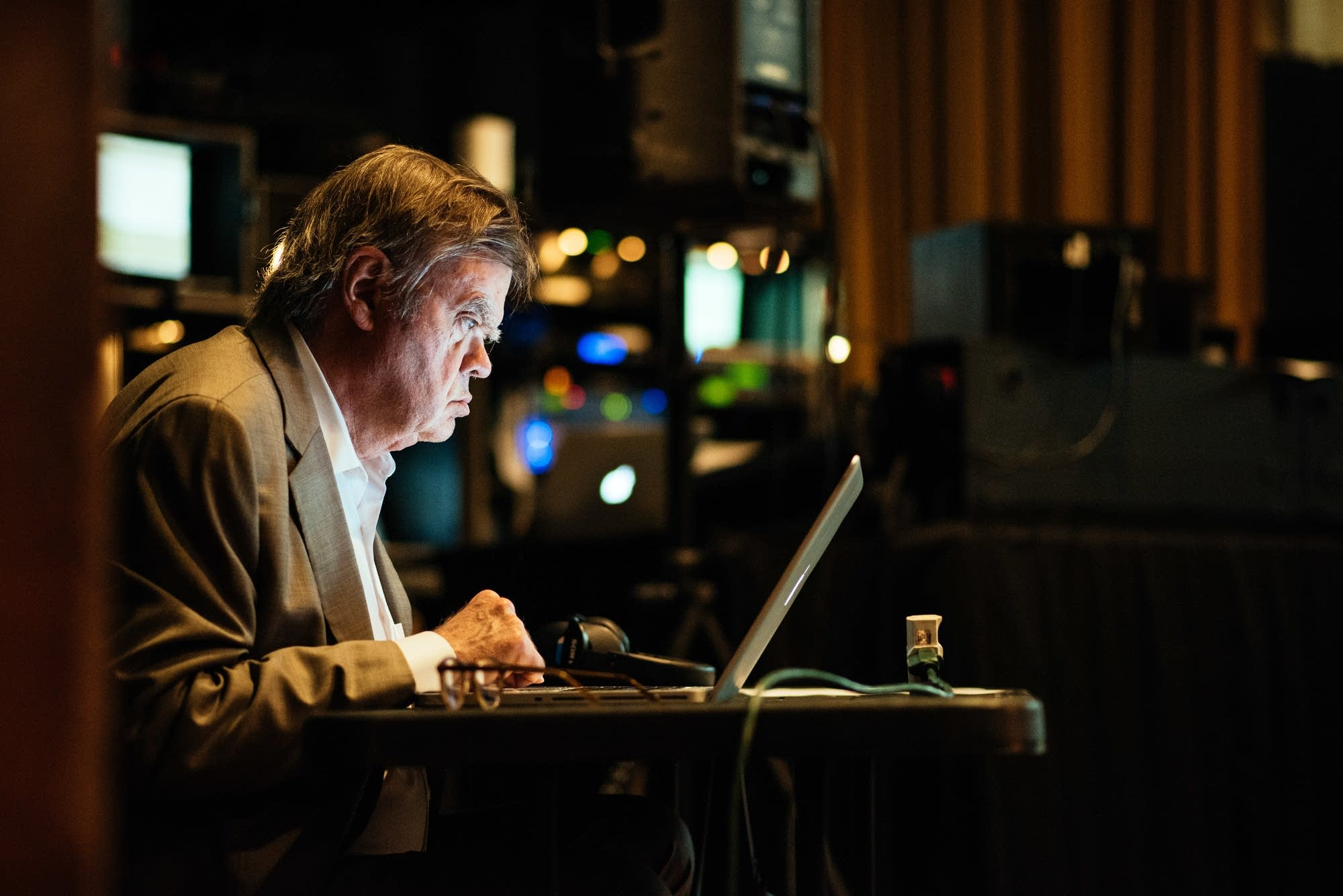 Garrison Keillor looks over scripts on May 6, 2016, in Nashville, Tenn.