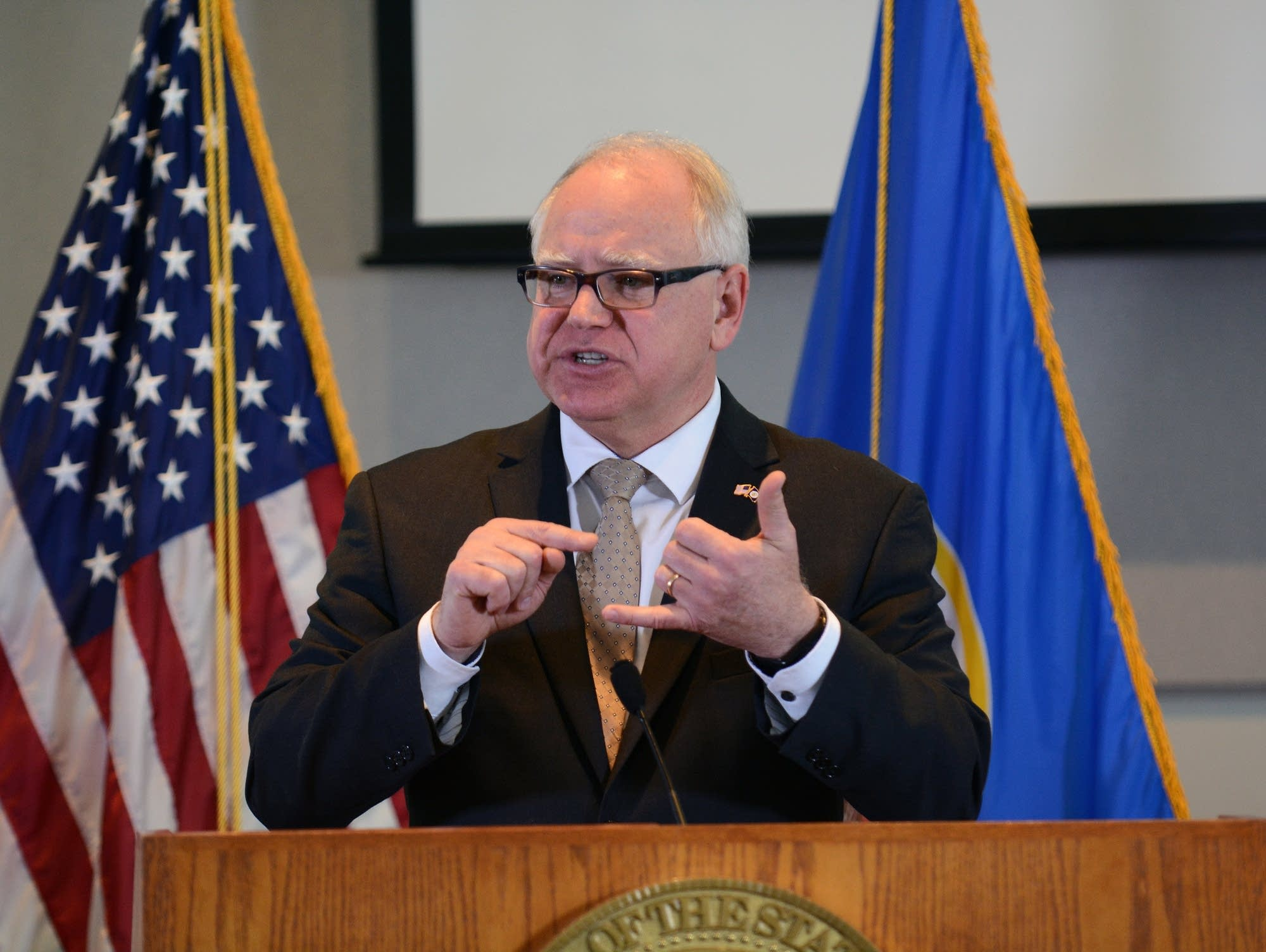 Gov. Tim Walz presented first state budget