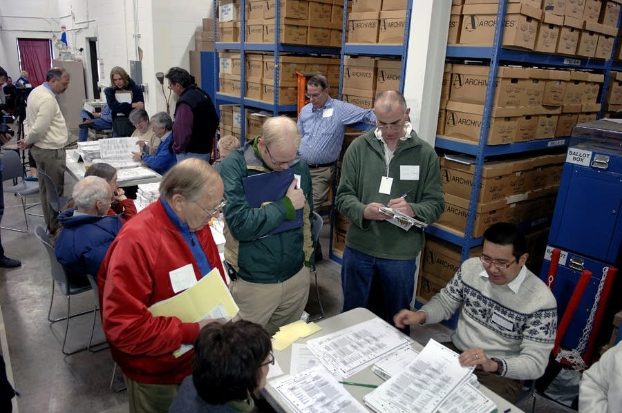 Ballots being counted at the elections warehouse