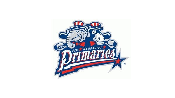 Logo for baseball team NH Primaries: Cartoon elephant and donkey w/ bats