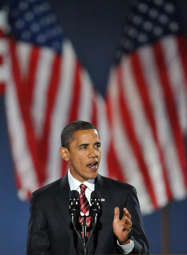 Barack Obama gives his victory speech in Chicago